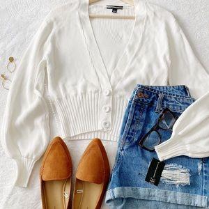NWT Semi Cropped Cardigan W/Billowy Sleeves